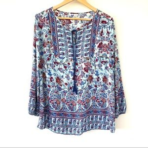 Rayon tunic top with tie at neckline